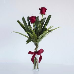 Red Roses in Bud Vase