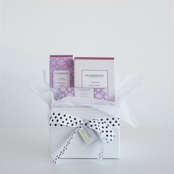 Glasshouse Pamper Package including candle, hand creme and body bar
