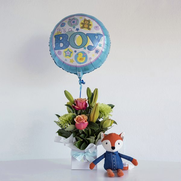 New baby girl present, flowers, toy and a helium balloon