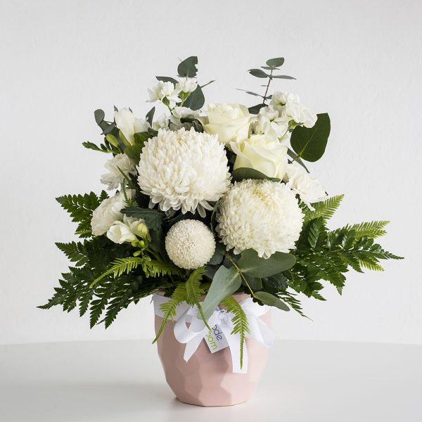 Whites in Pink Geometric Ceramic Vase