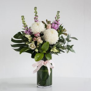 Pastel Flowers in a Glass Vase