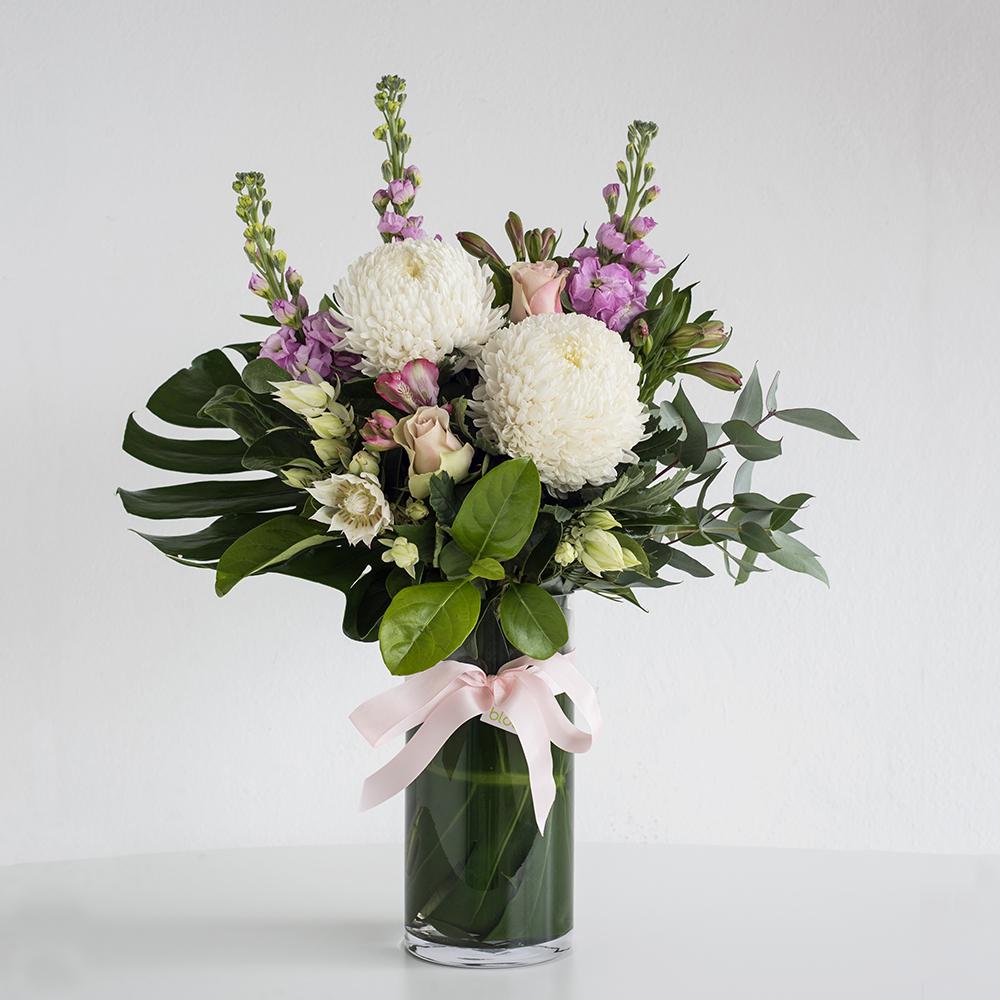 Code Bloom & Pastel Flowers in a Glass Vase