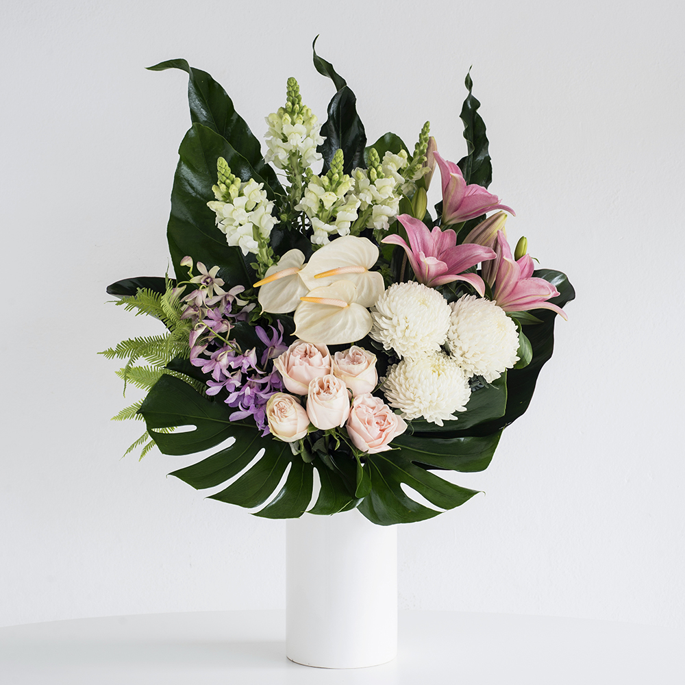 Pink White Flowers In A Ceramic Vase Code Bloom Perth Florist