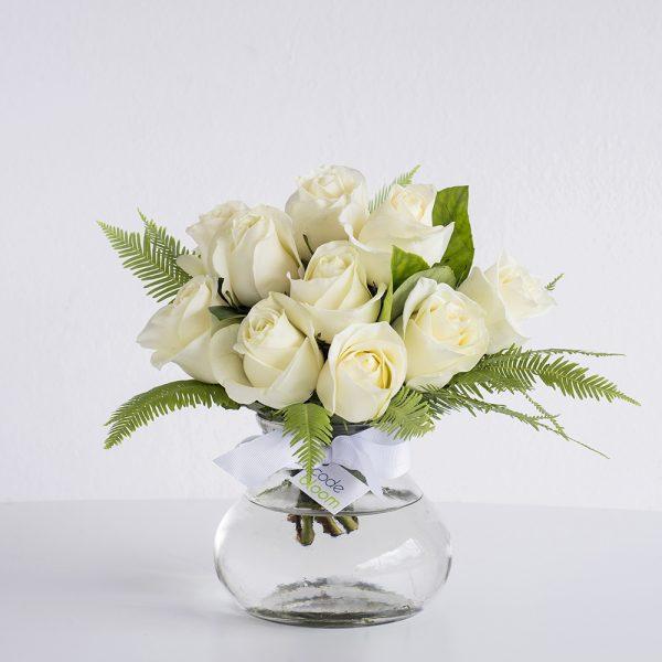 Roses in Posy Jar - White