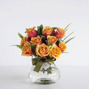 Roses in Posy Jar - Orange