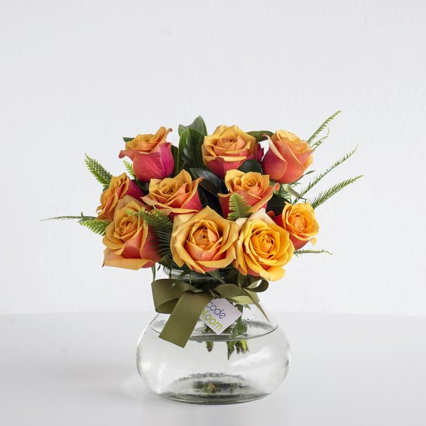 Roses in Posy Jar - Orange