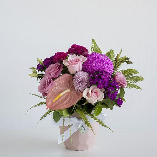 Pretty Pinks in Pink Ceramic Geometric Vase