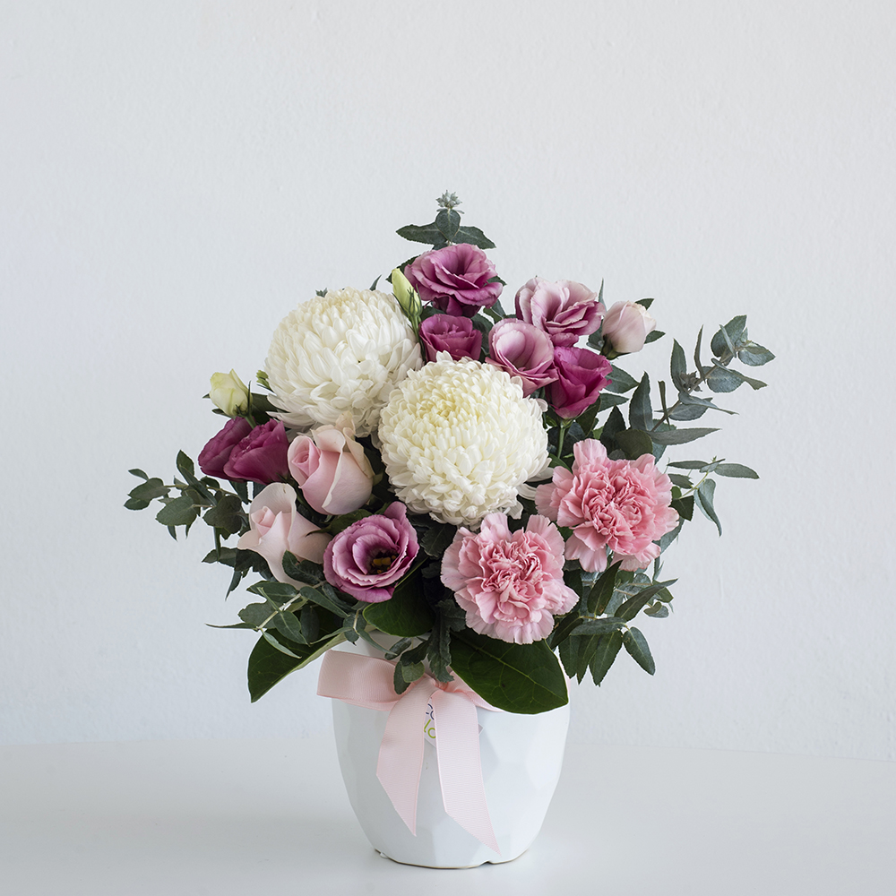 Pastels in Geometric White Ceramic Vase • Code Bloom - Perth Florist ...