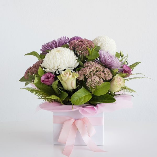 Pink & Whites Box Arrangement