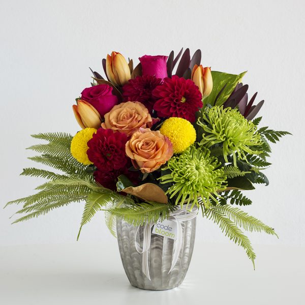Colourful Mix in Silver Vase