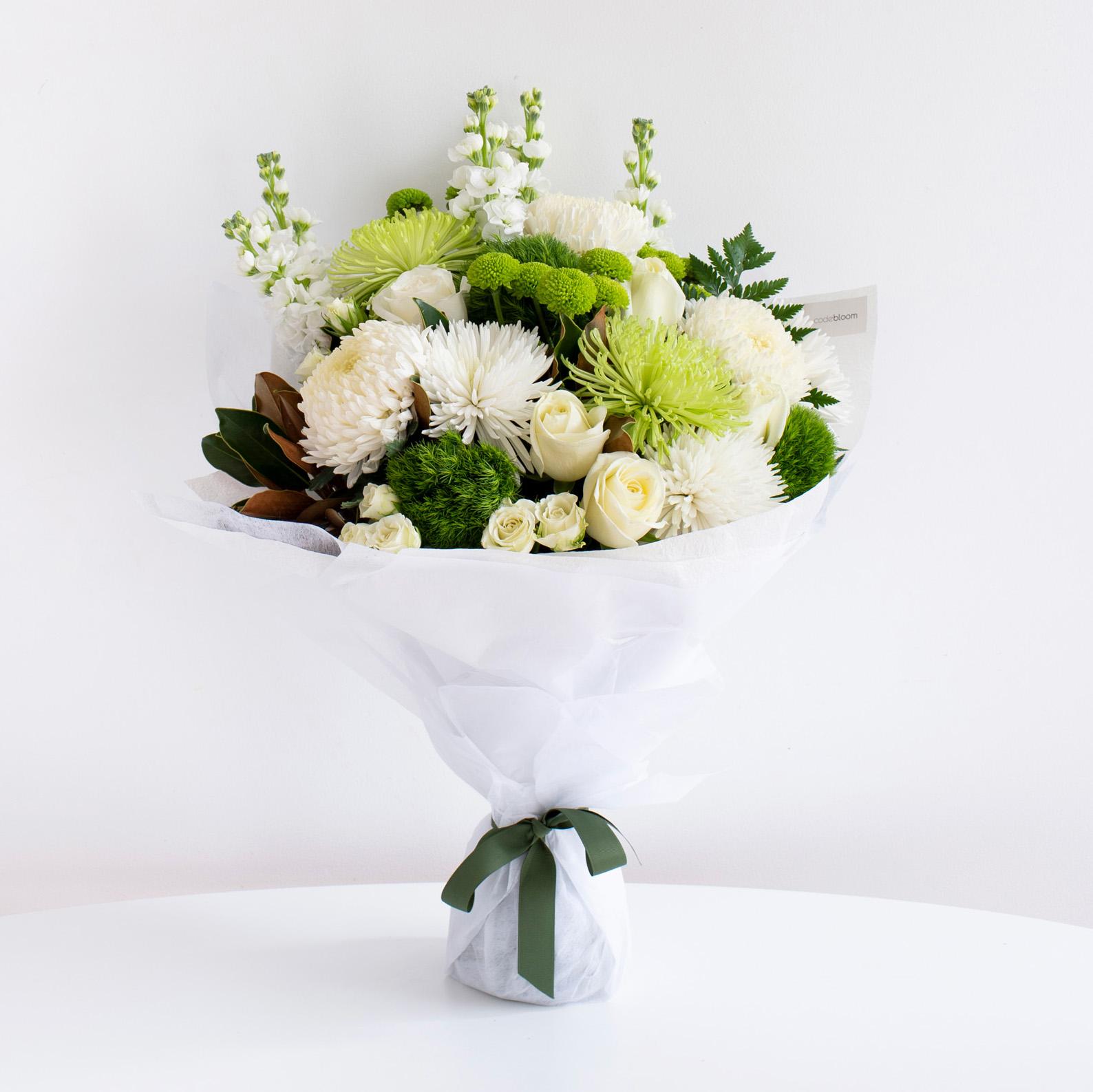 Classic White Bouquet Code Bloom Perth Florist Fresh Flower Bouquets