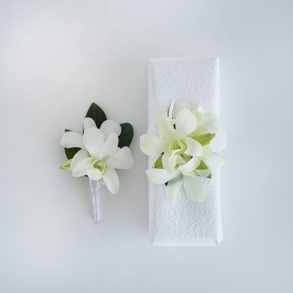White Orchid Buttonhole & Corsage