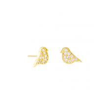 Gold bird studs with costume crystals by Tiger Tree