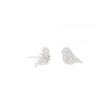 Silver bird studs with costume crystals by Tiger Tree