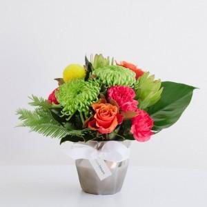colourful mix in silver vase medium