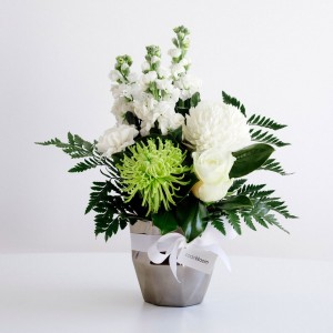 whites in silver vase medium