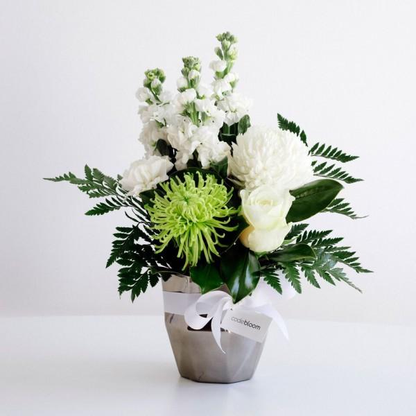 whites in silver vase medium